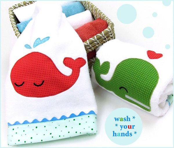 Tutorial and pattern: Whale applique hand towels