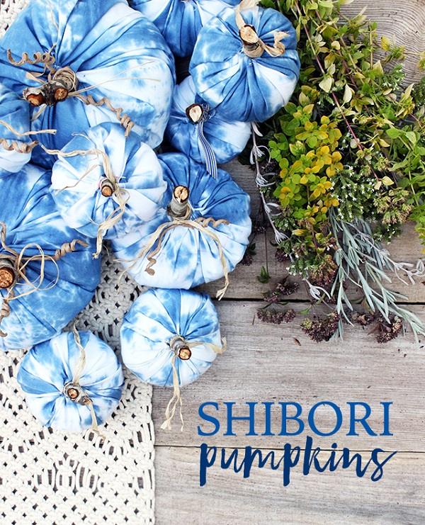 Tutorial: Shibori dyed fabric pumpkins