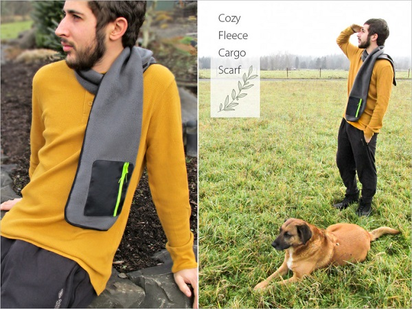 Tutorial: Zipper pocket fleece scarf