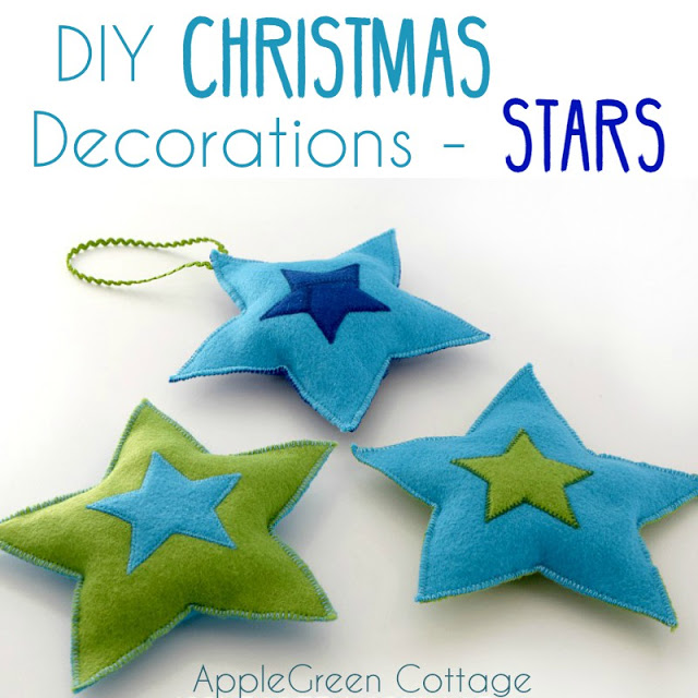 Tutorial and pattern: Felt star Christmas ornaments