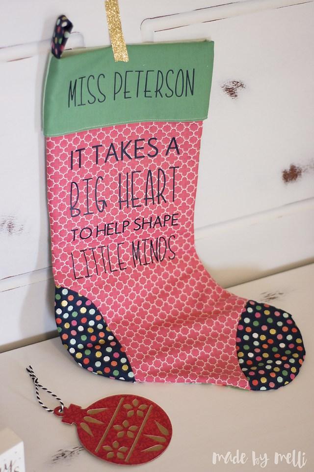 Tutorial: Personalized Christmas stocking teacher gift