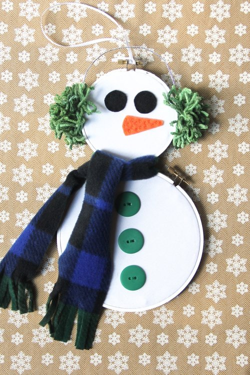Tutorial: Snowman embroidery hoop art