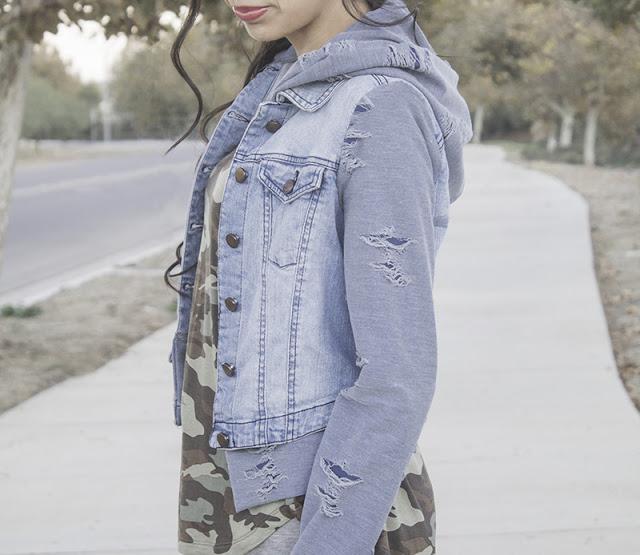 Tutorial: Distressed jean jacket hoodie refashion