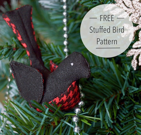 Tutorial and pattern: Fabric sparrow softie or ornament