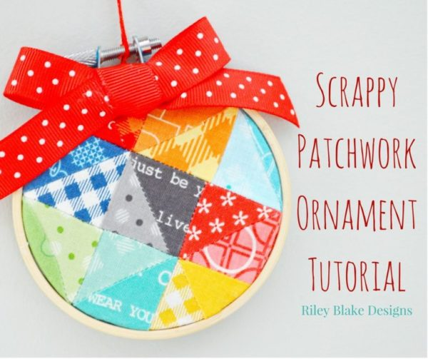 Tutorial: Scrappy patchwork mini hoop Christmas ornament