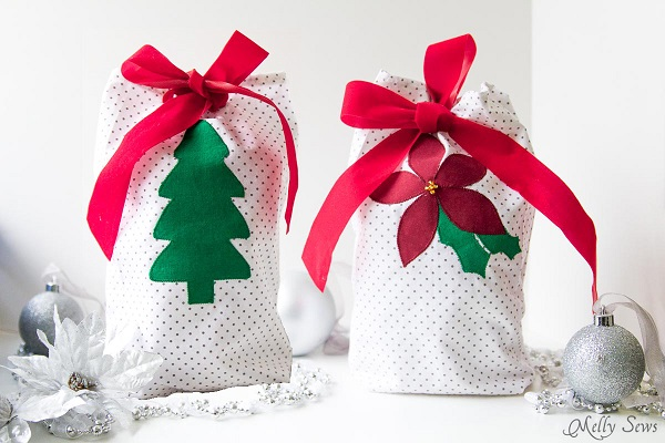 Tutorial: Easy appliqued reusable fabric gift bags