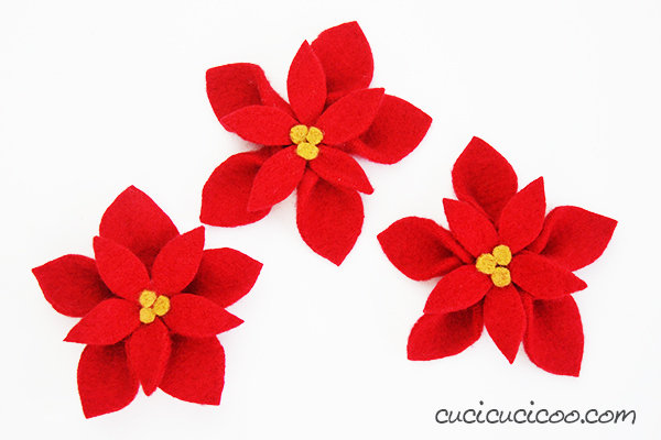 Tutorial: No-sew wool felt poinsettias