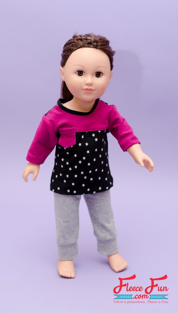 Tutorial and pattern: Knit jogger pants for an 18″ doll