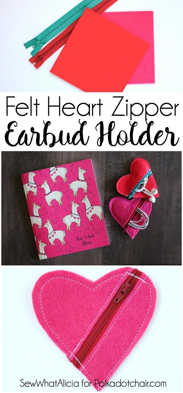 Tutorial: Heart earbud zip pouch
