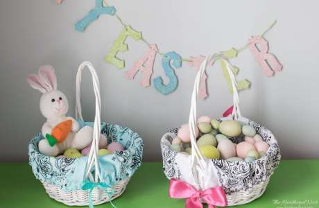Tutorial: Easy bandana Easter basket liner