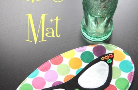 Tutorial and pattern: Retro glasses mug rug