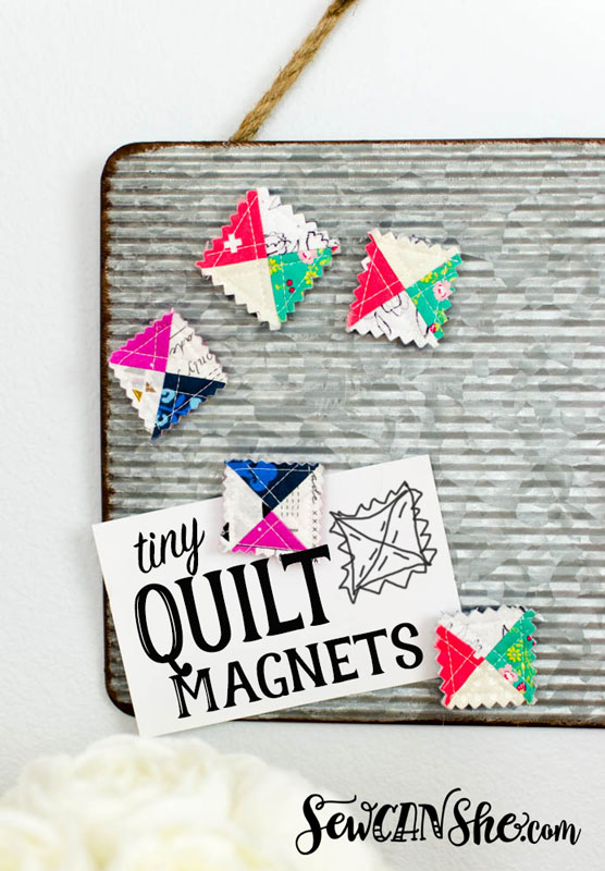 Tutorial: Tiny quilt block magnets from your smallest scraps