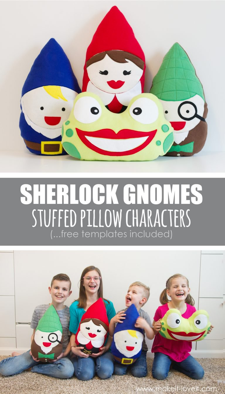 Tutorial and pattern: Sherlock Gnomes stuffed pillows