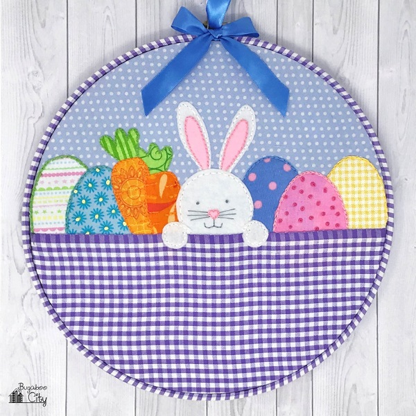 Tutorial and pattern: Easter bunny in a basket embroidery hoop art