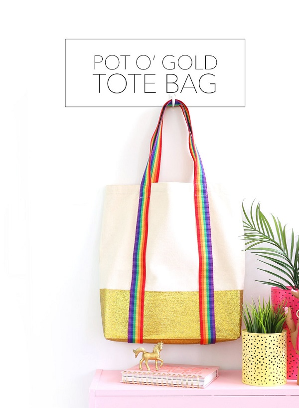 Tutorial: Rainbow and glitter tote bag