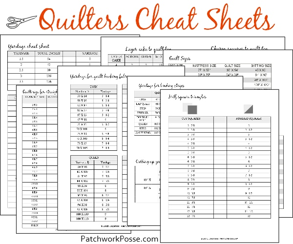 Quilters' cheat sheet free printable