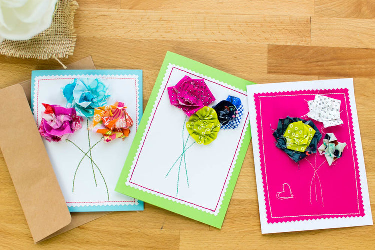 Tutorial: Scrap fabric flower Mother's Day cards