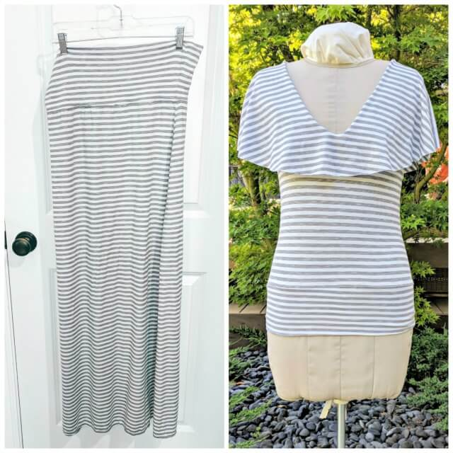 Sewing tutorial: Flounce neck t-shirt from a maxi skirt
