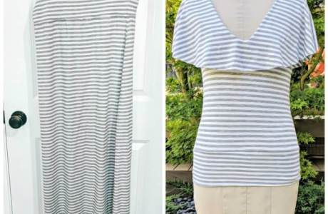 Sewing tutorial: Flounce neck t-shirt from a maxi skirt