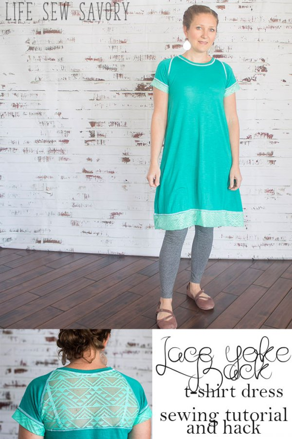 Sewing tutorial: Lace back t-shirt dress