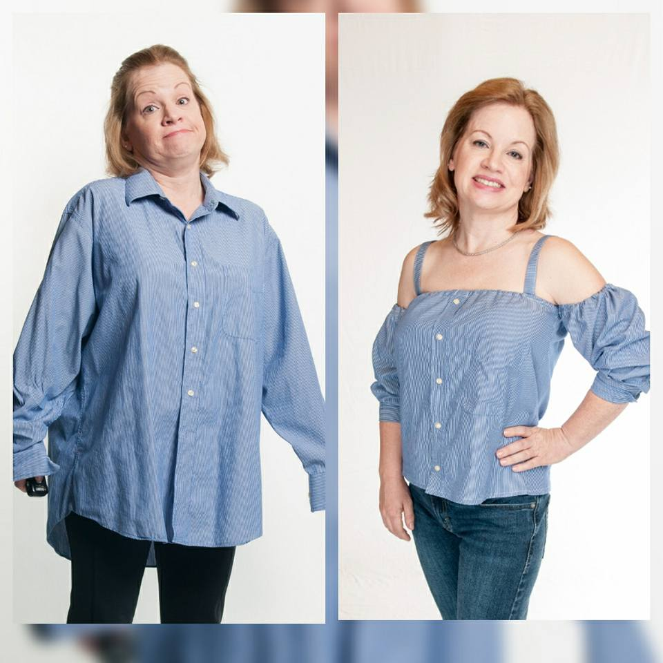 Sewing tutorial: Off-the-shoulder top from a man's button up shirt