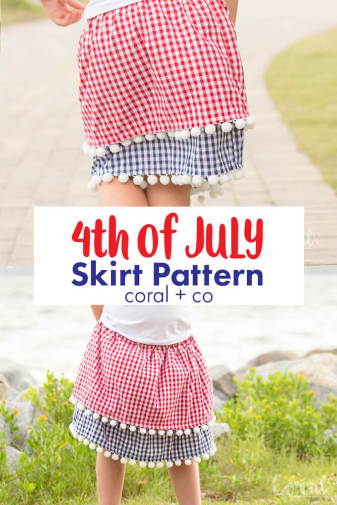 Sewing tutorial: Little girls layered gingham skirt for 4th of July
