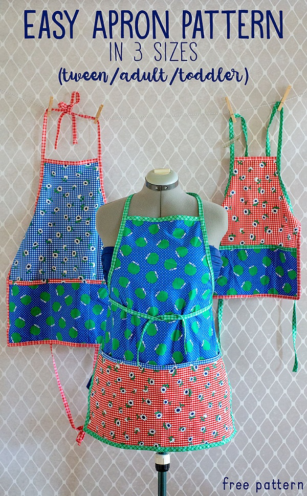 Sewing tutorial: Easy kitchen apron, with free pattern in 3 sizes