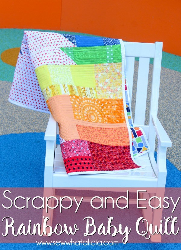 Sewing tutorial: Scrappy rainbow baby quilt
