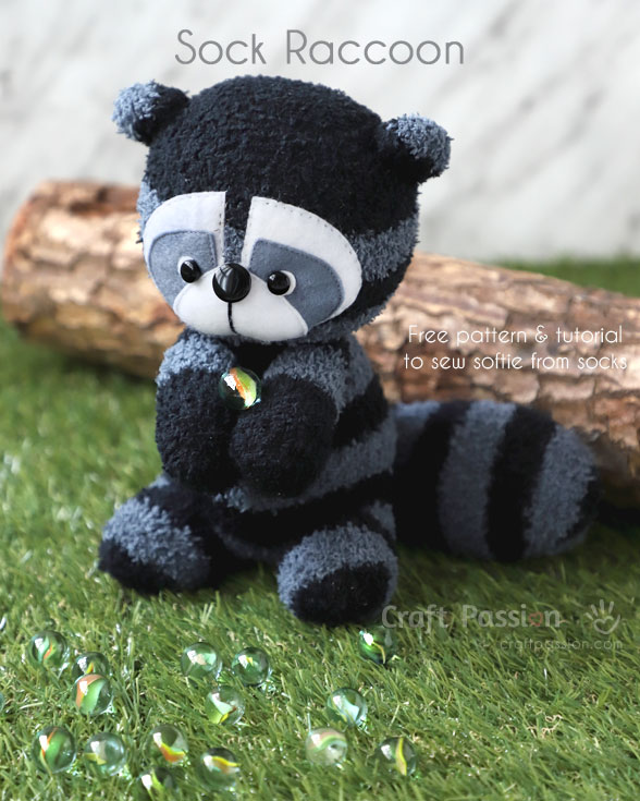 Sewing tutorial: Sock raccoon softie, with free pattern