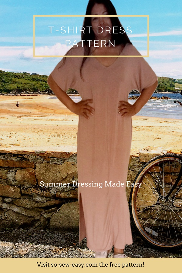 Sewing tutorial: Women's t-shirt dress, with free sewing pattern