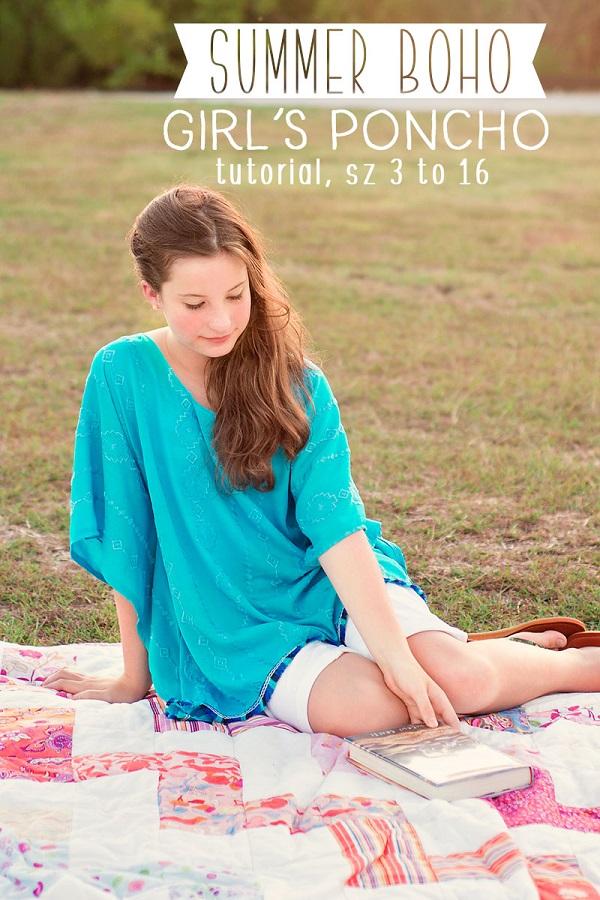 Sewing tutorial: Girls boho poncho top