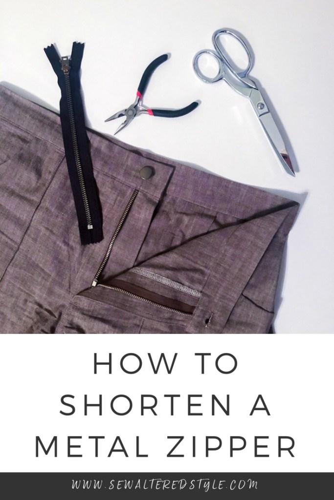 Sewing tutorial: Shortening a metal zipper