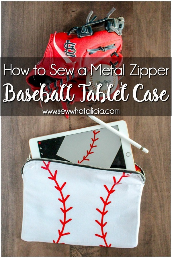 Sewing tutorial: Baseball tablet case with a metal zipper
