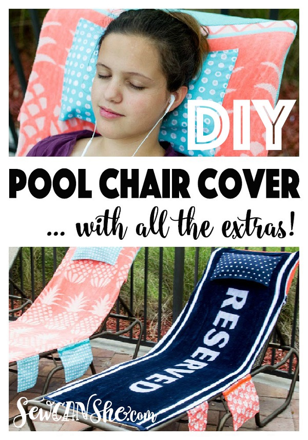 Sewing tutorial: Pool chair cover with pockets and a pillow