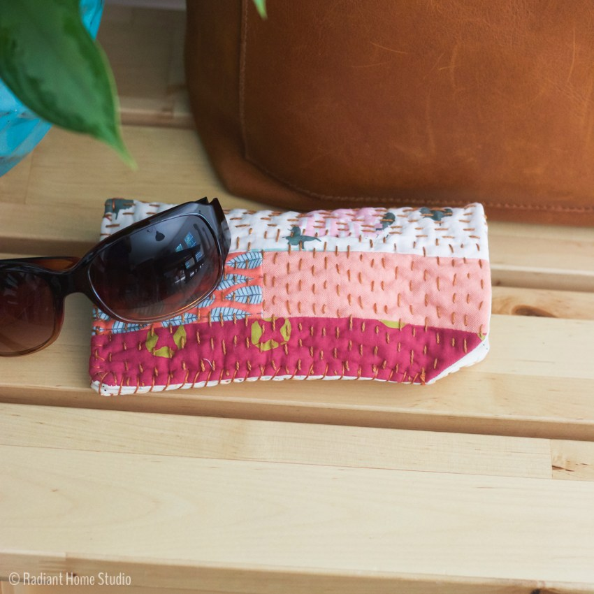 Sewing tutorial: Scrappy sunglasses case with Kantha stitching