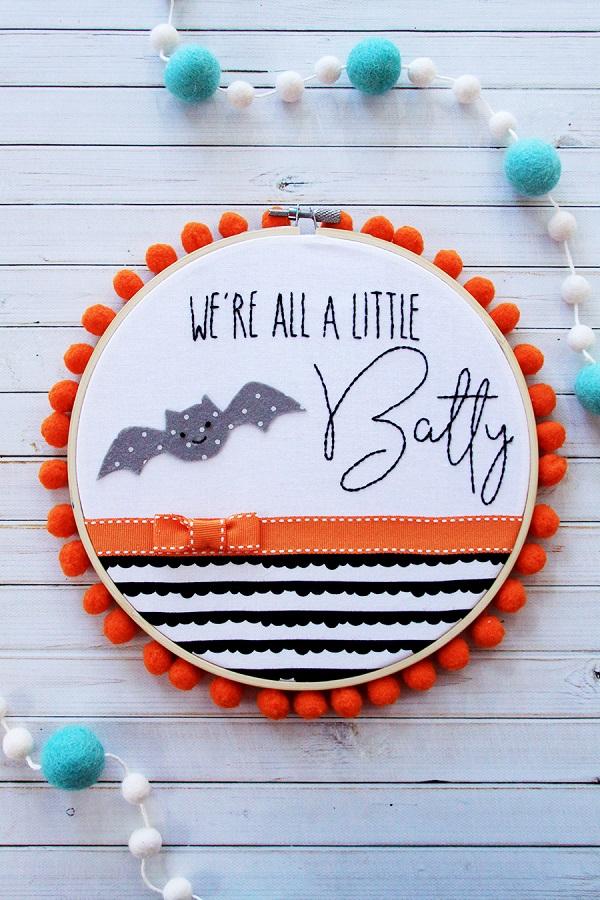 Free pattern: We're All a Little Batty Halloween hoop art