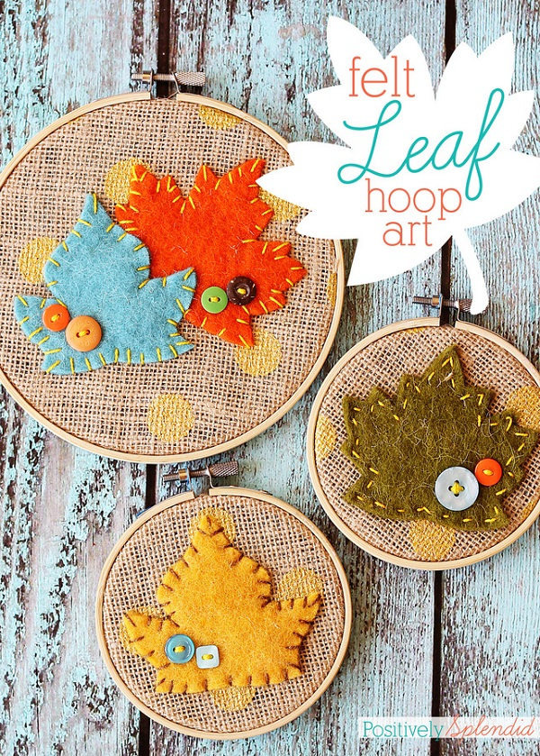 Sewing tutorial: Felt leaf fall embroidery hoop art