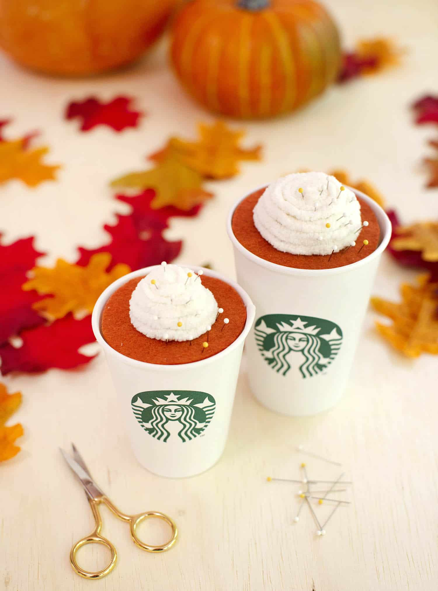 Tutorial: Pumpkin spice latte pincushion