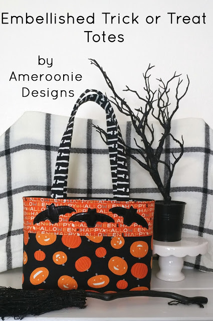 Sewing tutorial: Embellished Trick or Treat tote bags