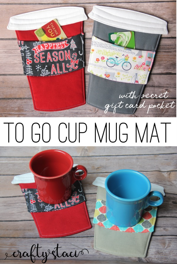 Sewing tutorial: To Go Cup mug mat with gift card pocket