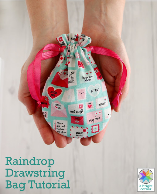 Sewing tutorial: Raindrop drawstring bags