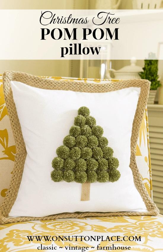 Tutorial: No-sew pom pom Christmas tree pillow