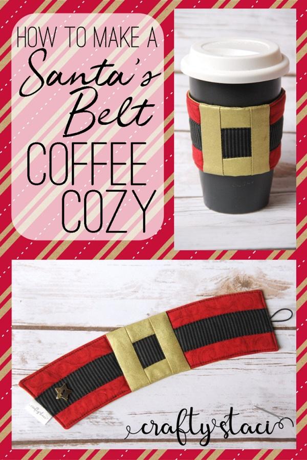 Sewing tutorial: Santa belt coffee cozy
