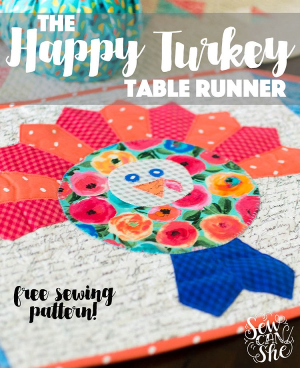 Free sewing pattern: Happy Turkey table runner