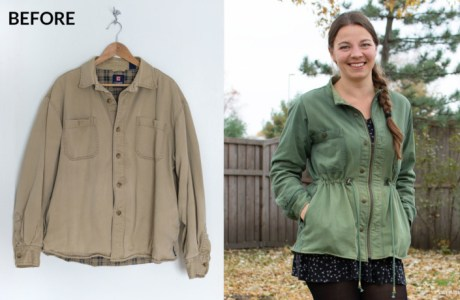 Sewing tutorial: Women's cargo jacket made from a men's shirt