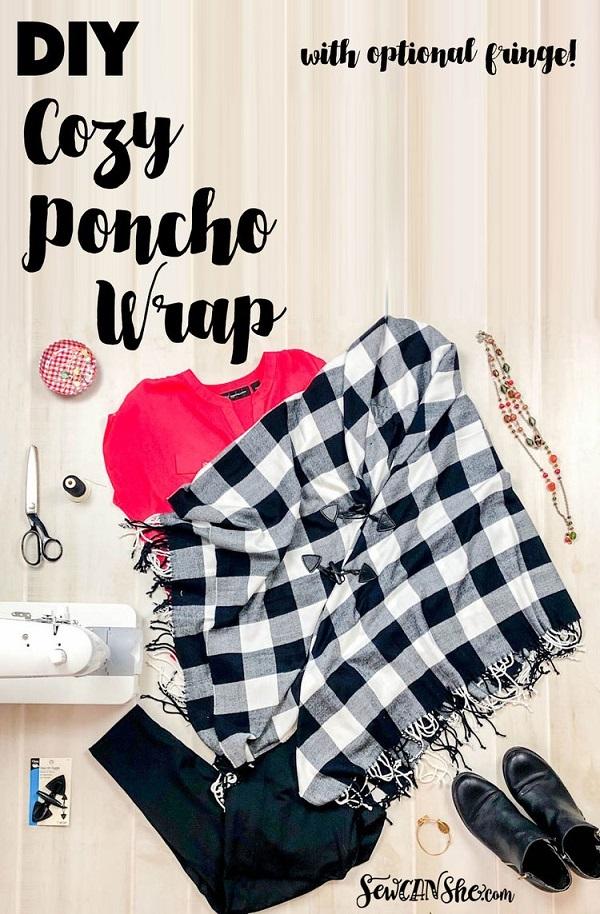 Sewing tutorial: Easy poncho wrap