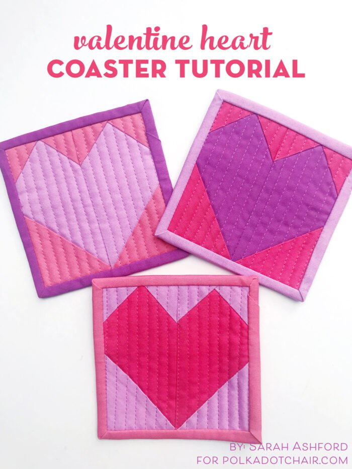 Sewing tutorial: Quilted heart coasters
