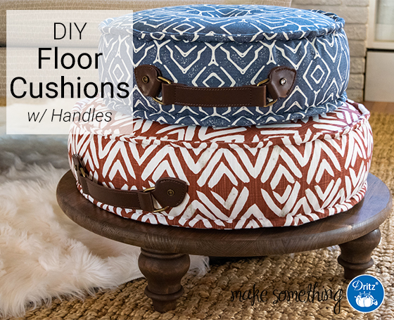 Sewing tutorial: Floor cushions with leather handles