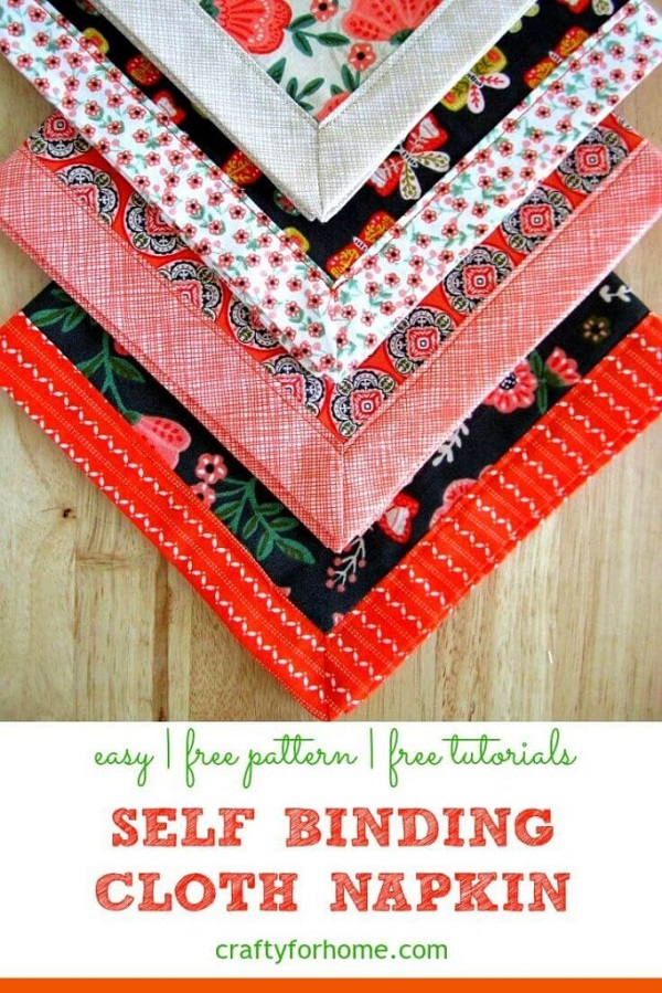 Sewing tutorial: Self-binding fabric napkins from fat quarters