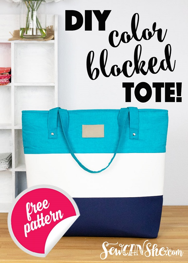 Sewing tutorial: Color block tote bag